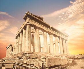 Fototapete - Parthenon temple on golden sunset with feather clouds, tinted panoramic image Acropolis in Athens, Greece
