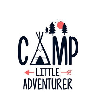 Adventure icons print vector illustration for t-shirt design with slogan. Vector illustration design for fashion fabrics, textile graphics, prints.