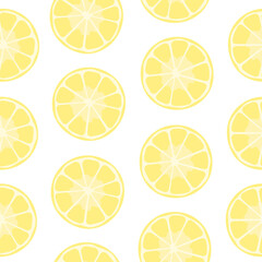 Lemons slices seamless pattern. Repetitive vector illustration of lemon slices on transparent background.
