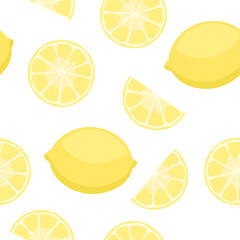 Lemons seamless pattern. Repetitive vector illustration of lemons and slices on transparent background.