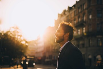 Side view of smiling man standing against sky in city