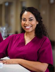 Smiling nurse at nursing home
