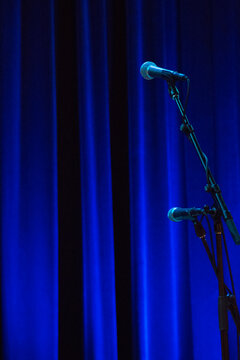 Microphone in front of stage curtain
