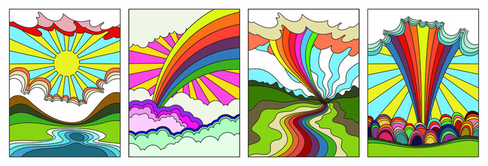 Psychedelic Art Landscapes, 1960s Hippie Style Poster Set, Bright Colors, Rainbows, Clouds