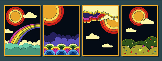 Fototapeta 1960s Hippie Style Poster Set, Abstract Illustrations Clouds, Rainbow, Sun, Skies Psychedelic Art Stylization  obraz