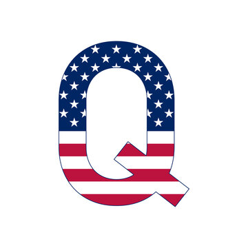 Letter Q with stars and stripes. American flag lettering font. Vector USA national flag style letter Q. Patriotic american element for poster, card, banner and background.