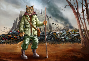 Apocalyptic puss in boots and apocalyptic landscape with castle and junkyard illustration