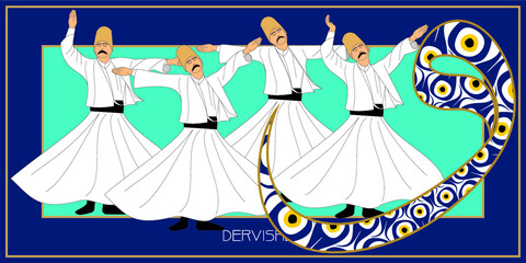 Printed kitchen splashbacks Fairytale World Whirling Dervishes Big vector poster. Symbolic study of Mevlevi mystical dance. This painting represents a movement of this dance.