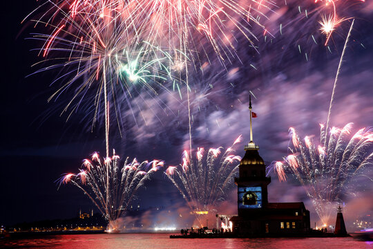 Fireworks explode over Maiden's Tower in Istanbul