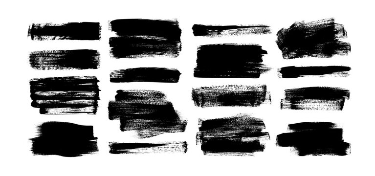 Vector black paint, rectangular ink brush stroke and shapes set. Dirty grunge design element, box or background for text.