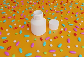 plastic pills container with colorful pills around. pills with a bottle on orange background. rendered in 3d