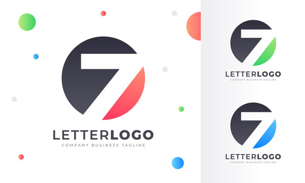 Colorful Gradient Number Lucky 7 Seven Letter Logo Rounded Circle Logo Design Template for Property, restaurant, Health, shop, tech and all Kinds Company Business. Vector Template