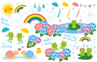 梅雨 雨の日 イラスト セット ベクター Fotobehang