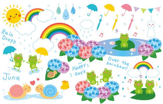 梅雨 雨の日 イラスト セット ベクター