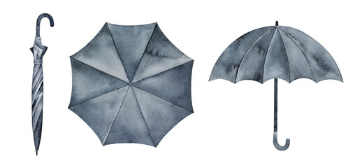 Watercolor collection of dark black umbrella in various views. Opened and closed. Seasonal emblem of autumn. Hand painted water color sketchy artistic illustration, cutout clipart elements for design.