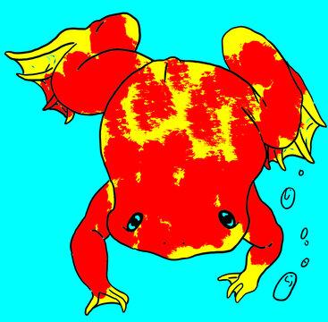 Illustrazione digitale di una rana platanna (Xenopus laevis) in stile cartoon