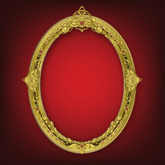 Wall Mural - Oval Wooden frame of Gold photo frame with corner line floral for picture, Vector border design decoration pattern style
