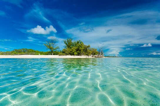 Clear waters of an islet in Bimini. Low Angle Shot.