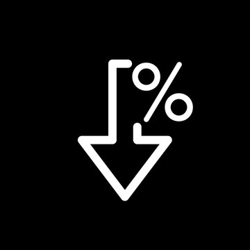 Percent down icon on black. Vector