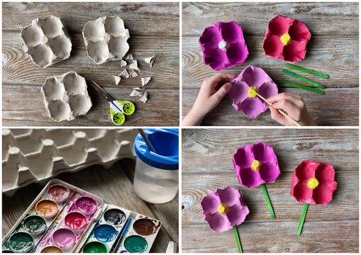 Collage of 4 photos, learning how to make flowers from recycling egg boxes.