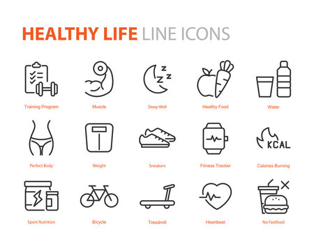 set of healthy life icons, workout, sleep, diet