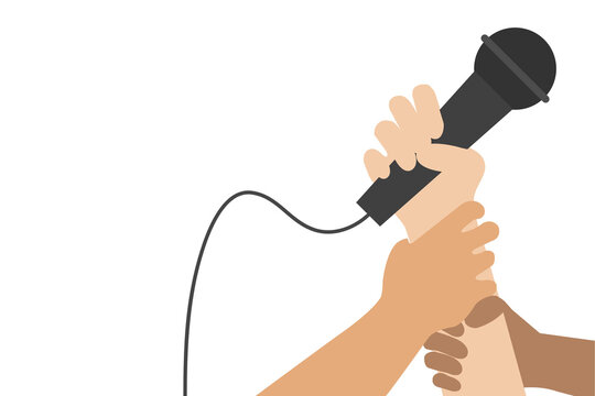 hand holding microphone, singing contest element