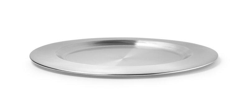 empty silver tray isolated