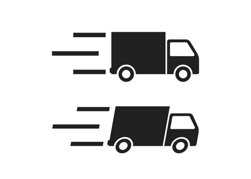 Delivery icon in flat style on white background. Vector isolated web