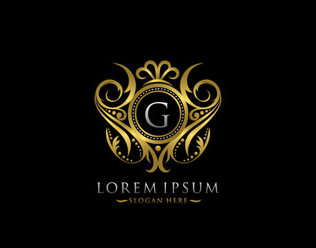 Luxury Boutique G Letter Logo. Classy Elegant gold circle badge design for Boutique, Letter Stamp, Wedding Logo,  Hotel, Heraldic, Jewelry.