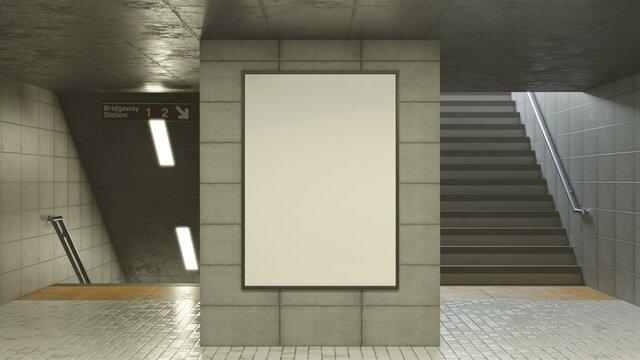 Subway Poster Mockup, A3/A2/A1/A0, Clean concrete walls and railings, 3D Render