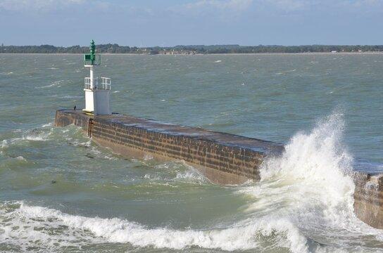 Mesquer Lighthouse, pointe de Merquel, Loire-Atlantique, west of France