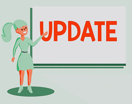 Text sign showing Update. Business photo showcasing by adding new information or making corrections Up to date Wo analysis Standing Talking Hand Presenting Audio Visual Blank Projector Screen