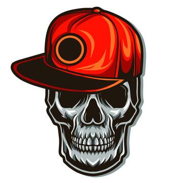 skull wearing snapback hat vector illustration isolated on white background