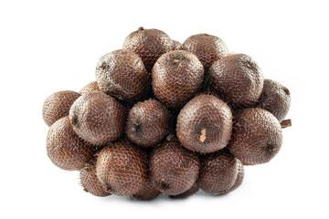 Salacca fruit on white background. Zalacca , Salak , Snake fruit. Native fruit of Indonesia.