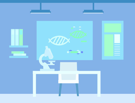 Vector cartoon illustration in flat design with  Science lab interior or laboratory room, biology education concept