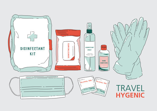 Vector illustration of the Travel Disinfectant kit. Elevated Health and Wellness. Protect yourself from germs, bacteria and viruses. Coronavirus (COVID-19).