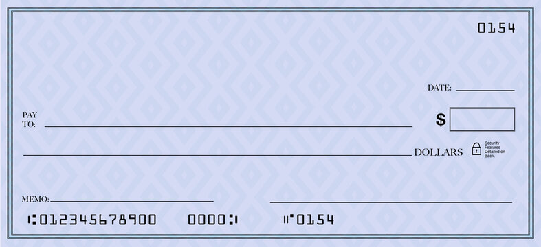 Blank Check Space for Your Text Bank Account Copy Blue Background Illustration