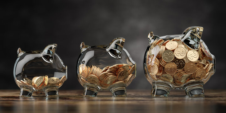 Glass piggy bank of different size with golden coins. Fiinancial growth, deposit, investment and savings concept background.