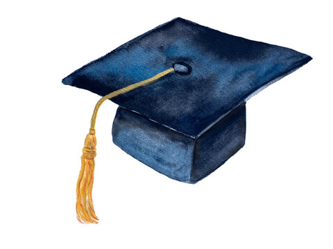 Black Graduation cap with yellow tassel, watercolor illustration hand drawn brush paint on paper isolated on white.  Education concept.