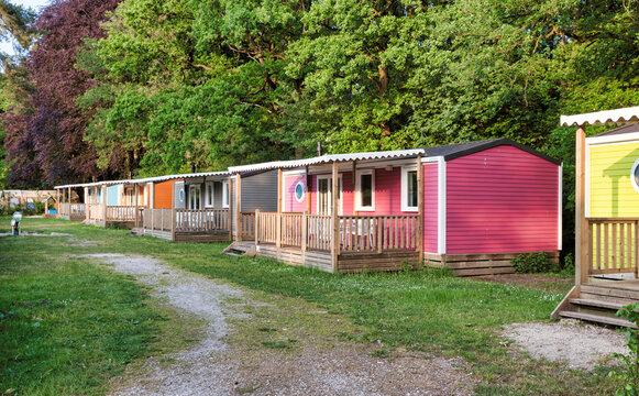 Mobile homes, yellow green with veranda bungalow