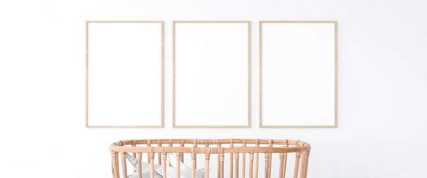 Interior of the child room. sleeping place for newborn. Closeup trendy wooden crib  3d illustration. Mock up frame
