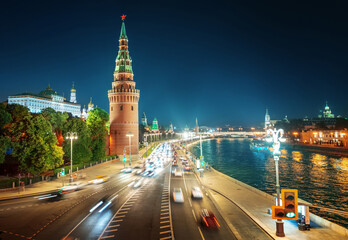 Fotomurales - Moscow Kremlin, Embankment and Moscow River, Russia