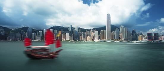 Fototapete - Hong Kong harbour, long exposition