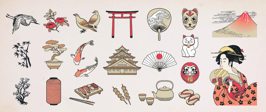 Japanese doodle set. Japanese traditional design elements. Hand drawn vactor illustration.