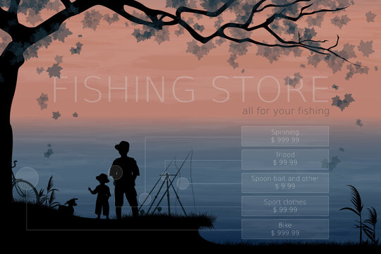 Fishing. Fisherman with son and dog. Male vacation. Summer holidays. Fishing store, concept of advertising signboard. Vector, EPS 10