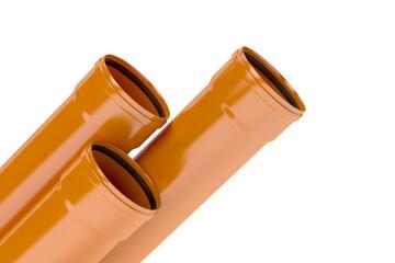 Orange plastic pvc pipes, 3D illustration