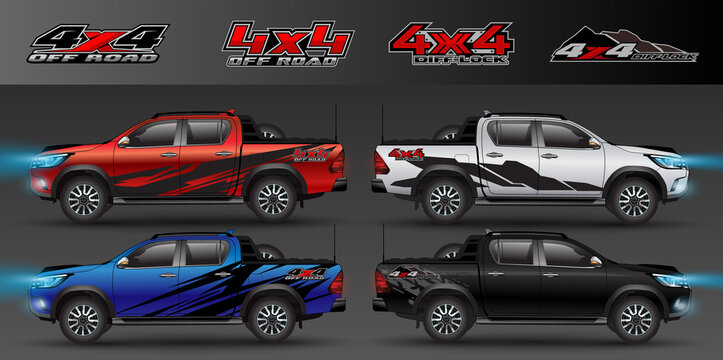 4x4 logo for 4 wheel drive truck and car graphic vector. Design for vehicle vinyl wrap_20200426