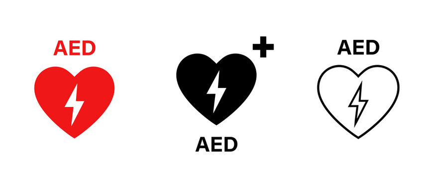 AED vector icon. Emergency defibrillator sign or icon. AED AID CPR. Vector red isolated icon CPR.