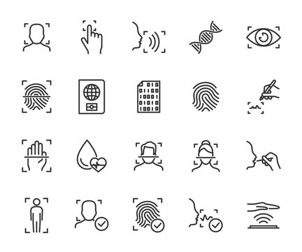 Vector set of biometric line icons. Contains icons fingerprint, face identification, voice recognition, DNA, blood type, eye scan, digital signature and more. Pixel perfect.