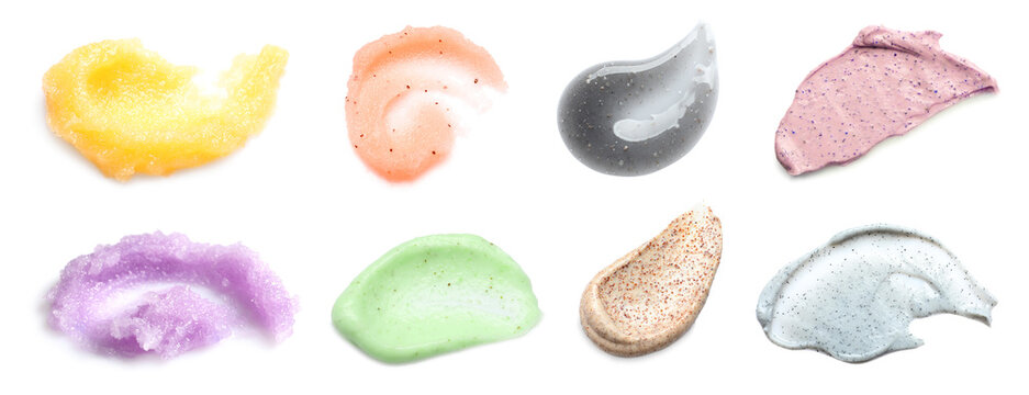 Set with different samples of natural scrubs on white background, top view. Banner design